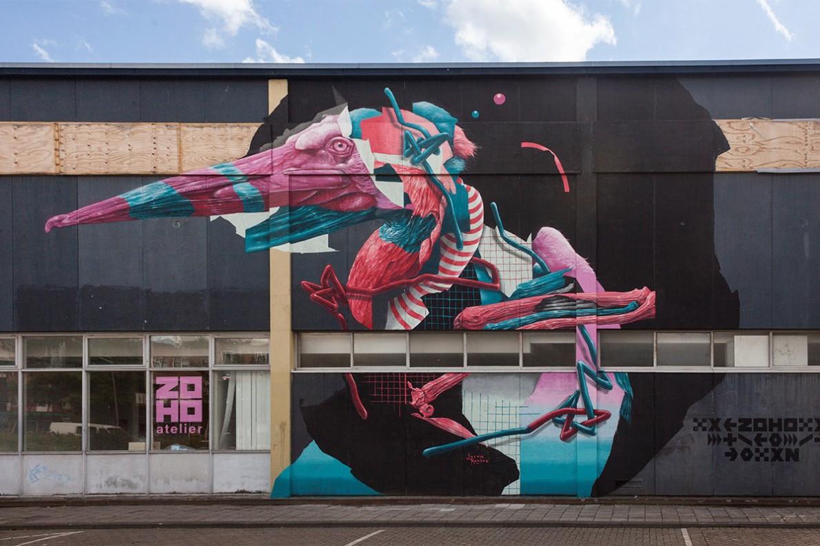 Joram Roukes, Tropic Thunder, Schoterbosstraat Rotterdam 2017. Sober Walls by Sober Collective.