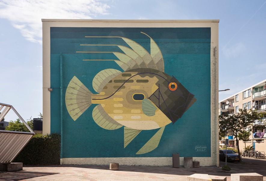 Amok Island, Zeus faber (or John Dory), Erasmusstraat Rotterdam, 2017. Sober Walls by Sober Collective.