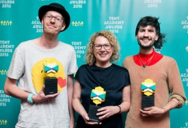 Michiel Ubels (winner of the TAA, Sabine Himmelsbach on behalf of Pascal Reinmann (winner of the Best Foreign Film Award), Dinu Comendant (winner of the Audience Award) Photo Aad Hoogendoorn