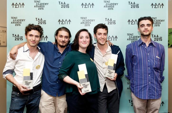 TAA 2015 winnaars Gideon van der Stelt uiterst links AVES Project en Sara Bachour foto Aad Hoogendoorn