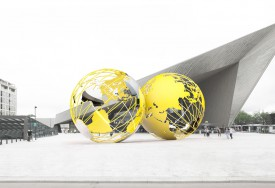 Olafur Eliasson, ontwerpschets Kissing Earth voor Stationsplein, night view (2014)