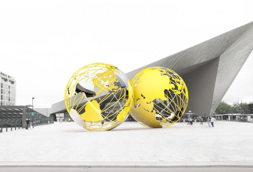 Olafur Eliasson, design sketch Kissing Earth for Stationsplein, night view (2014)