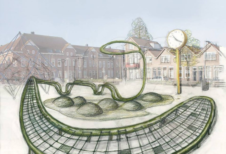 De Klimplant, design sketch Christine Saalfeld for Bloemhoflplein