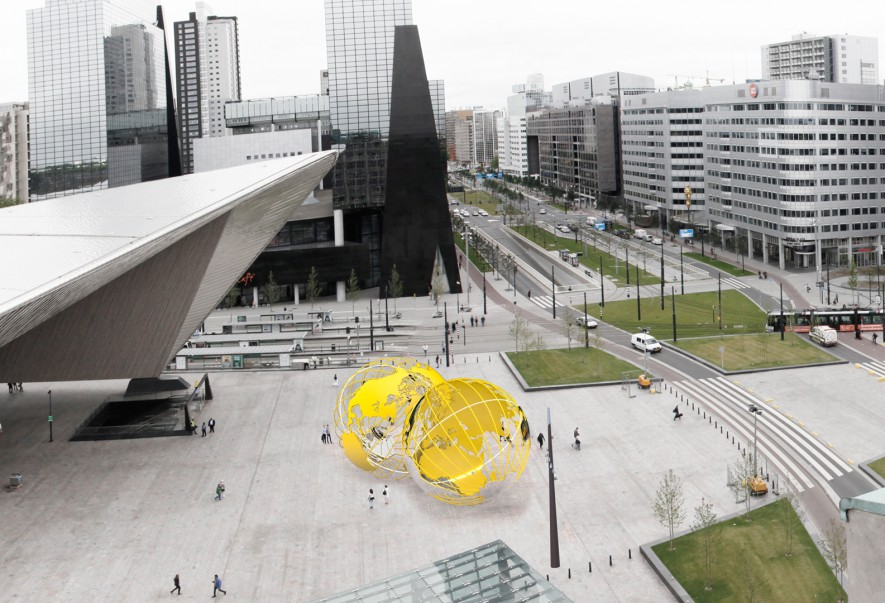 Olafur Eliasson, ontwerpschets Kissing Earth voor Stationsplein (2014)