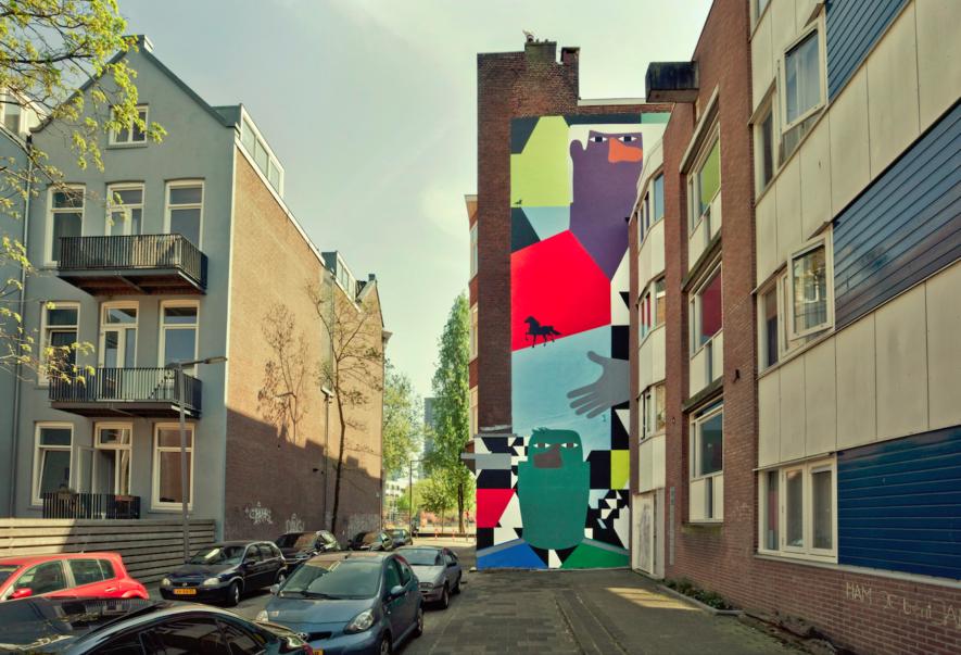 Mural Anuli Croon in de Zwartepaardenstraat, 2020